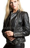Women's Distressed Black Slim Fit Moto Biker Style Real Leather Jacket-BNWT