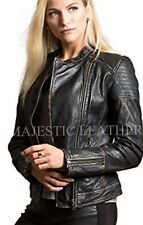 Women's Distressed Black Slim Fit Moto Biker Style Real Leather Jacket-BNWT