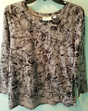 D & Co Active Floral Long Sleeve Tunic Top Size Large