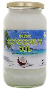 TIVI 100% Pure Organic Refined coconut oil 1 Litre In Glass Jar Cooking/body