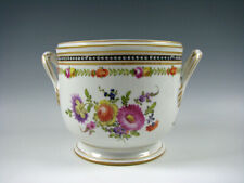 Nyon Switzerland Porcelain Cachepot Flower Pot Hand Painted Flowers