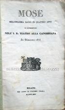 1835  BALOCCHI - DE JOUY, MOSÈ. MELODRAMMA SACRO IN QUATTRO ATTI – OPERA ROSSINI