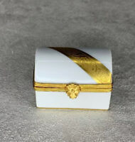 Limoges France Gold and White Porcelain Trinket Box Dartigeas