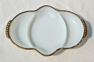 VINTAGE ANCHOR HOCKING FIRE KING 3 COMPARTMENT DIVIDED MILK GLASS GOLD TRIMMED