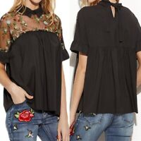 Summer Women Loose Flare Sleeve See Though Floral Embroidered Top Blouse Shirt