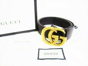 Auth GUCCI GG Marmont Gold Buckle Brown Leather Belt Waist Size 81-91 #7894
