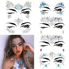 6pcs Rhinestone Face Jewelry Stickers Crystal Tattoo Stick on Body Gem Stones