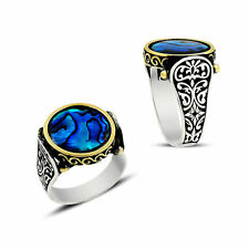 Mother of Pearl Gemstone Turkish Ottoman 925 Sterling Silver Men's Ring