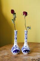 Set 2 Blue White Hand Painted Ceramic Delfts Long Necked Decorative Vase Floral
