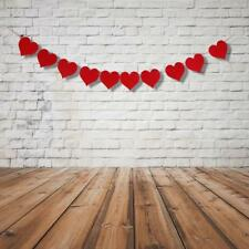 Garland Banner 10 Red Heart Flags Hanging Bunting Christmas Wedding Decor