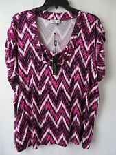 Tahari Top Blouse Short Sleeve Cowl Neck White Black Fuchsia Print 3X #7259