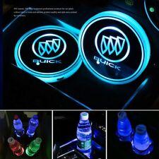 2PCS Car Cup Holder Pad LED Coaster Light 7 Colors USB Charging Mat for Buick