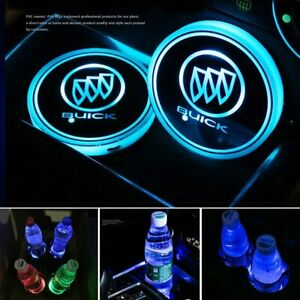 2PCS Car Cup Holder Pad LED Coaster Light 7 Colors USB Charging Mat for Buick