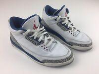 2001 Nike Air Jordan III 3 Retro WHITE TRUE BLUE CEMENT GREY RED 136064-141 10.5