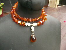 VINTAGE BALTIC AMBER WITH GENUINE PEARL CHOKER  琥珀色