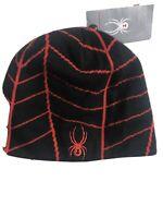 SPYDER MENS WINTER HAT Cap Beanie NWT BLACK  & Red New