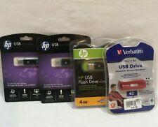 4 Hp USB Drive 4 Gb  Flash Drive  & v125w Data storage Lot