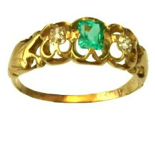 Lovely Openwork 14K Yellow Gold Flower Motif Emerald and Diamond Ring Size 10