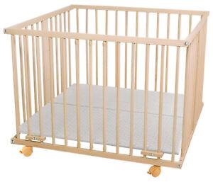 B-Ware WALDIN Baby Laufgitter Laufstall ca. 100x100 BUCHE MASSIV unbehandelt