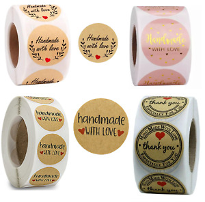 Handmade With Love Stickers Thank You Hand Made Homemade Labels Round Heart 25mm