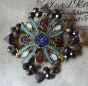 antique French 35mm multi colour enamel & cut steel flower button -T157