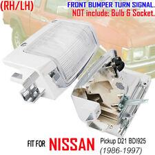 For NISSAN D21 BDI925 1992-97 Pair Turn Signal Corner Lights Chrome Body WH Lens