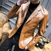 Men Leather Jacket Business Casual Formal Dress Blazer Wedding Party Coat KLOUI8