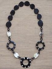 """Buffalo Horn Necklace 35"""" Long Natural Material Black Dots Jewelry"""