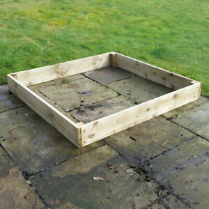 """4ft x 4ft x 6"""" Wooden Raised Bed FSC Timber With FREE Irrigation System Growing"""