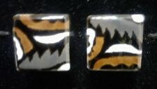 Cuff Links Mid-Century Modern Brutalist 1960s Enamel Over Copper