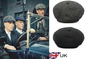 Peaky Blinders Hat Newsboy Flat Cap Herringbone Tweed 100% Wool Baker Boy Gatsby