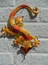 Gecko Wall Art Ornament - Metal Geckos Lizard Wall Hanging - Orange & Yellow