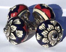 céramique poignée tiroir INDIGO ROUGE ROND BOUTONS AVEC surélevé blanc pois (