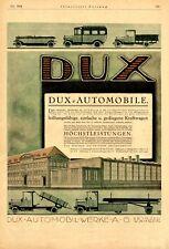 Dux Automobile Leipzig Wahren XL Reklame 1918 von Loewe Werbung LKW PKW