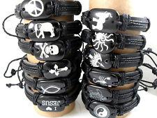 48pcs mixed 12 styles leather men's fashion bracelets jewelry lots wholesale