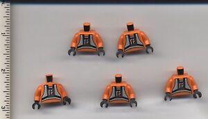 Star Wars LEGO x 5 Orange Torso SW Rebel Pilot Pattern X-Wing Y-Wing Biggs Luke