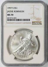 1997-S Jackie Robinson Modern Silver Commemorative Dollar $1 MS 70 NGC
