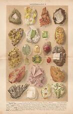 B2521 Tipi di Minerali - Stampa Antica 1928 - Cromolitografia - Antique print