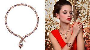Snake Necklace Swarovski Element Crystal Purple Rhinestone Rose Gold Plated