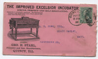 1888 Quincy IL Geo. Stahl Excelsior Incubator ad cover [y2071]