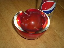 Murano- Italy, Hand Blown Red Colored, Round Shaped Glass Ashtray, Tobacciana