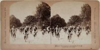 Gara A Bicicletta Brooklyn USA Foto Stereo Vintage Albumina 1896