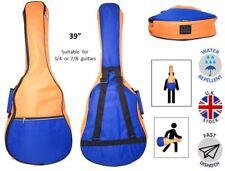 """Azul Oscuro 5 mm Guitarra Acústica Niño Pad Orange bolsa suave adapta a 36"""" a 39"""" 3/4 7/8"""