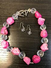 Beautiful Faux Pink Turquoise & Crystal Necklace Earring Set