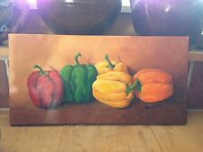 original painting on stretched canvas,Texas artist,red/yellow/orange peppers