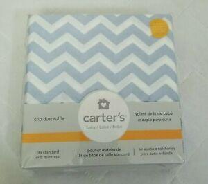 Carters Chevron Zig Zag Crib Dust Ruffle Baby Boy Nursery Decor Blue White New
