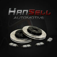 [Front Cross Drilled Brake Rotors Semi Metallic Pads] Fit 10-12 Kia Rondo