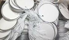 Metal Rim Tags, round, 1 7/8 inches, white with string attached, CASE of 4 boxes