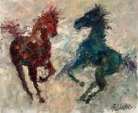 ANDRE DLUHOS ORIGINAL OIL PAINTING Western Horse Equine Equestrian Colts Foals
