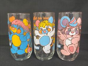 Popples Pizza Hut Glasses Vintage 1986 Blue Pink White Lot Of 3 - Excellent!